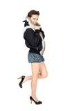 σακάκι κοριτσιών γουνών Στοκ φωτογραφίες με δικαίωμα ελεύθερης χρήσης
