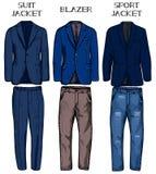 Σακάκι κοστουμιών, σακάκι, αθλητικό σακάκι διανυσματική απεικόνιση