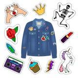 Σακάκι τζιν μπαλωμάτων απεικόνιση αποθεμάτων