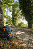 Σακίδιο που κλίνει σε ένα δέντρο παράλληλα με ένα ίχνος στοκ φωτογραφίες