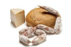 Σαλάμι και ψωμί τυριών Στοκ Εικόνα