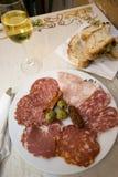 σαλάμι της Ρώμης πιάτων ζαμπόν Στοκ Εικόνες