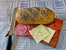 σαλάμι τυριών ψωμιού Στοκ Φωτογραφία