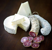 σαλάμι τυριών Στοκ εικόνα με δικαίωμα ελεύθερης χρήσης
