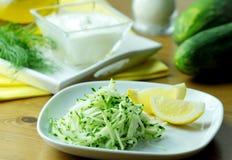 Σαλάτα αγγουριών με το γιαούρτι, τον άνηθο και το λεμόνι Κλείστε επάνω την όψη Στοκ Εικόνες