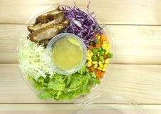 Σαλάτα κοτόπουλου στο πλαστικό κιβώτιο στο ξύλινο πάτωμα στοκ φωτογραφία με δικαίωμα ελεύθερης χρήσης