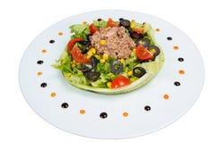 Σαλάτα με τα λαχανικά και τα ψάρια Στοκ εικόνες με δικαίωμα ελεύθερης χρήσης