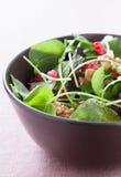 Σαλάτα με το μαρούλι, pomegranateand ξύλα καρυδιάς Στοκ Εικόνες