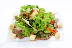 Σαλάτα με το μοσχαρίσιο κρέας και λαχανικά σε ένα άσπρο πιάτο στοκ φωτογραφίες