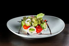 Σαλάτα με το τυρί και φρέσκα λαχανικά στο άσπρο πιάτο στοκ φωτογραφίες
