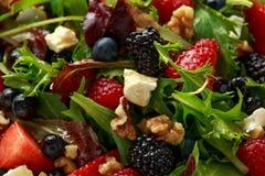 Σαλάτα νωπών καρπών με το βακκίνιο, το σμέουρο φραουλών, τα ξύλα καρυδιάς, το τυρί φέτας και τα πράσινα λαχανικά υγιή θερινά τρόφ στοκ φωτογραφία