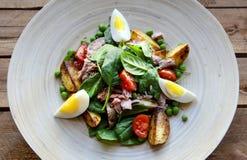 Σαλάτα τόνου με το μαρούλι, τα αυγά και τις ντομάτες Στοκ Εικόνα