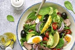 Σαλάτα τόνου με το σπανάκι φύλλων σαλάτας μιγμάτων και το arugula, αβοκάντο Στοκ φωτογραφία με δικαίωμα ελεύθερης χρήσης