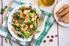 Σαλάτα φρέσκων λαχανικών με το κοτόπουλο, arugola, croutons στο άσπρο ξύλο στοκ εικόνες