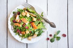 Σαλάτα φρέσκων λαχανικών με το κοτόπουλο, arugola, croutons στο άσπρο ξύλο στοκ φωτογραφία με δικαίωμα ελεύθερης χρήσης