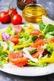Σαλάτα ψαριών με το σολομό και τα λαχανικά Στοκ Εικόνες