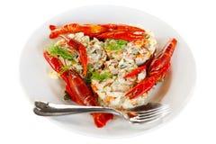 Σαλάτα ψαριών που διακοσμείται με τους κόκκινους αστακούς σε ένα άσπρο πιάτο Απομονωμένος στο λευκό στοκ εικόνες με δικαίωμα ελεύθερης χρήσης
