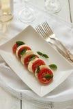 Σαλάτα Caprese με τις ώριμες ντομάτες και τυρί μοτσαρελών με τα φρέσκα φύλλα βασιλικού μαγειρεύοντας συστατικά ιταλικά τροφίμων Στοκ Εικόνα