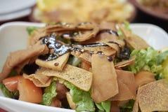 Σαλάτα Fattoush με το pita και την ανάμεικτη σαλάτα στοκ εικόνα
