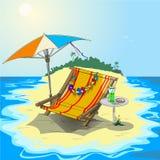 Σαλόνι μονίππων σε ένα τροπικό νησί Διανυσματική απεικόνιση