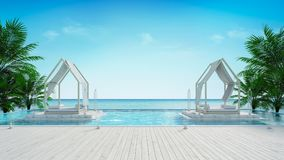 Σαλόνι παραλιών και πανοραμική άποψη θάλασσας στην απόδοση του /3d βιλών πολυτέλειας ελεύθερη απεικόνιση δικαιώματος