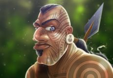 Σαμοανικός πολεμιστής στο θάμνο διανυσματική απεικόνιση