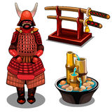 Σαμουράι, katana στη στάση και διακοσμητική πηγή ελεύθερη απεικόνιση δικαιώματος