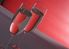 σαμπάνια δύο wineglasses Στοκ εικόνες με δικαίωμα ελεύθερης χρήσης