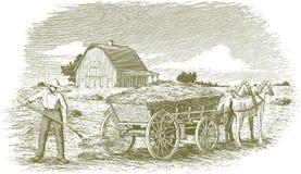 Σανός Farmer ξυλογραφιών Στοκ Εικόνα