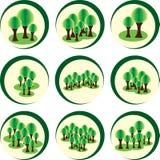 σαν διανυσματικά κύματα στροβίλου ανασκόπησης διακοσμητικά γραφικά τυποποιημένα Αφηρημένα δέντρα στα δασικά δέντρα στον κύκλο Στοκ εικόνες με δικαίωμα ελεύθερης χρήσης