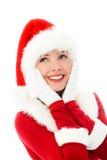 σαν ονειροπόλο ντυμένο santa κοριτσιών Στοκ φωτογραφία με δικαίωμα ελεύθερης χρήσης