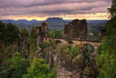 Σαξονική γέφυρα της Ελβετίας Bastei στοκ φωτογραφία με δικαίωμα ελεύθερης χρήσης