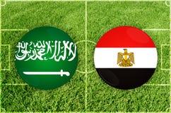 Σαουδική Αραβία εναντίον του αγώνα ποδοσφαίρου της Αιγύπτου Στοκ εικόνα με δικαίωμα ελεύθερης χρήσης