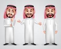 Σαουδάραβας - αραβικός διανυσματικός χαρακτήρας ατόμων - καθορισμένη φθορά thobe και gutra διανυσματική απεικόνιση