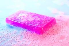 Σαπούνι γλυκερίνης με τον αφρό Στοκ Φωτογραφία