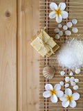 Σαπούνι, κοχύλι, πέτρες και tiare λουλούδια Στοκ φωτογραφίες με δικαίωμα ελεύθερης χρήσης