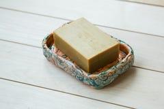 Σαπούνι σε ένα σαπούνι-πιάτο Στοκ εικόνες με δικαίωμα ελεύθερης χρήσης