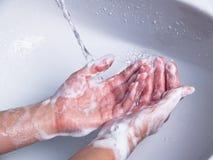 σαπωνώδης πλύση χεριών Στοκ φωτογραφίες με δικαίωμα ελεύθερης χρήσης