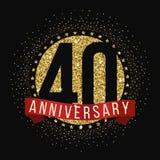 Σαράντα έτη εορτασμού επετείου logotype 40ο λογότυπο επετείου Στοκ φωτογραφία με δικαίωμα ελεύθερης χρήσης