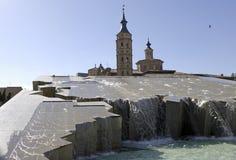 Σαραγόσα (Αραγονία, Ισπανία - Plaza del Πιλάρ, η πηγή Στοκ εικόνες με δικαίωμα ελεύθερης χρήσης