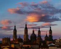 Σαραγόσα Ισπανία στο ηλιοβασίλεμα Στοκ Φωτογραφίες
