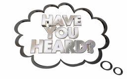 Σας έχει το ακουσμένο σκεπτόμενο κουτσομπολιό ειδήσεων σύννεφων διανυσματική απεικόνιση
