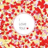 σας αγαπώ Ευχετήρια κάρτα με τις διακοσμητικές καρδιές Στοκ Εικόνες