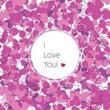 σας αγαπώ Ευχετήρια κάρτα με τις διακοσμητικές καρδιές Στοκ φωτογραφίες με δικαίωμα ελεύθερης χρήσης