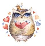 σας αγαπώ Καλή απεικόνιση watercolor με τις γλυκά κουκουβάγιες, τις καρδιές και τα λουλούδια στα τρομερά χρώματα Ζάλη ρομαντική Στοκ Εικόνες