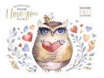 σας αγαπώ Καλή απεικόνιση watercolor με τις γλυκά κουκουβάγιες, τις καρδιές και τα λουλούδια στα τρομερά χρώματα Ζάλη ρομαντική Στοκ Φωτογραφίες