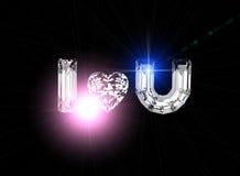 σας αγαπώ Πολύτιμος λίθος μορφής καρδιών Στοκ φωτογραφία με δικαίωμα ελεύθερης χρήσης