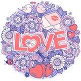σας αγαπώ Πλαίσιο Rounder φιαγμένο από λουλούδια, πεταλούδες, φίλημα πουλιών και αγάπη λέξης Στοκ Εικόνα