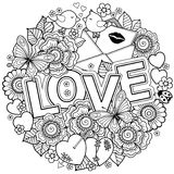 σας αγαπώ Πλαίσιο Rounder φιαγμένο από λουλούδια, πεταλούδες, φίλημα πουλιών και αγάπη λέξης Στοκ Εικόνες
