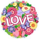 σας αγαπώ Στρογγυλό αφηρημένο υπόβαθρο φιαγμένο από λουλούδια, φλυτζάνια, πεταλούδες, και πουλιά Στοκ Φωτογραφίες